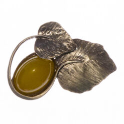 Leaf Shape Brooch with Yellow Stone
