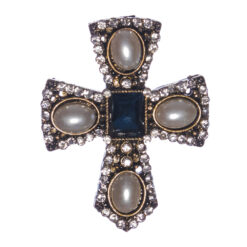 Cross Shape Brooch with Sapphire Stone