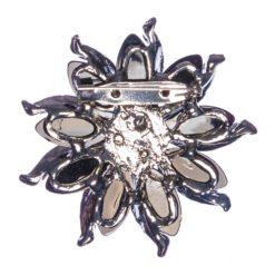 Back View of Black Flower Shape Brooch with Stones