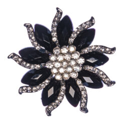 Black Flower Shape Brooch with Stones