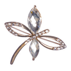 Gold Butterfly Shape Brooch with Stones