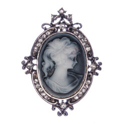 Silver Color Brooch with Female Etching