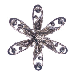 Back View of Silver Flower Shape Brooch with Silver Stones