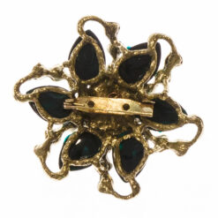 Back view of gold plated pin flower brooch