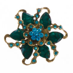 Teal flower shaped gold brooch with blue stones