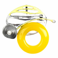 Image of silver circle brooch with pearl and yellow stone