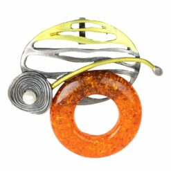 Image of silver circle brooch with orange stone and pearl
