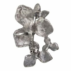 Back image of silver flower brooch with multi-coloured stones