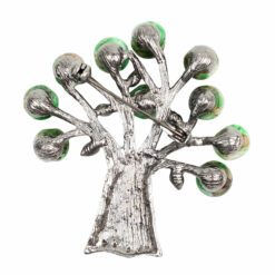 Back image of silver tree brooch with green beads