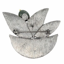 Back image of silver basket brooch with yellow leaf, orange and green stones