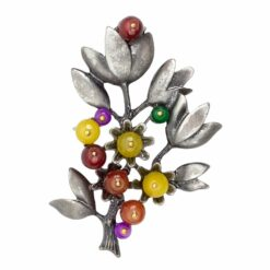 Image of silver flower with colourful stones