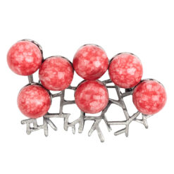 Image of silver brooch with cherry red balls