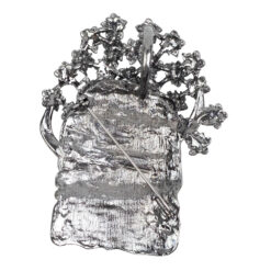 Image of silver watering can brooch with stones
