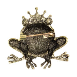 Back image of gold queen frog brooch with green stones
