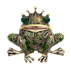 Image of gold-coloured frog with green stones