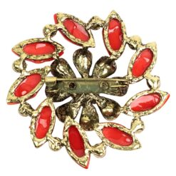 Back image of gold flower brooch with peach and pink stones