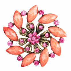 Photo of flower brooch with peach and pink stones