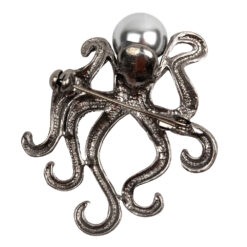 Back image of silver octopus brooch with pearl