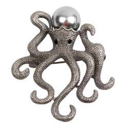 Image of silver octopus brooch with pearl