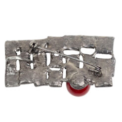 Back image of gun metal casual brooch with red stone