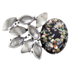 Image of silver brooch with black oval stone