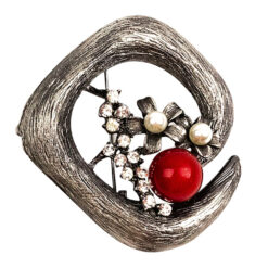Image of silver brooch with crystals, flower pearls and red stone