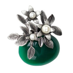 Image of silver flower brooch with pearls and green stone