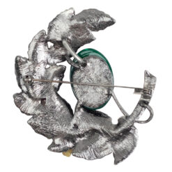 Image of silver wreath brooch with green stone