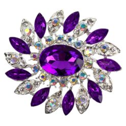 Image of flower brooch with purple crystals