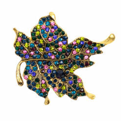 Image of gold leaf brooch with colourful crystals