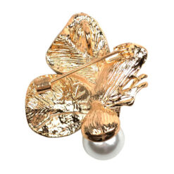 Image of gold butterfly brooch with pearl and colourful stones