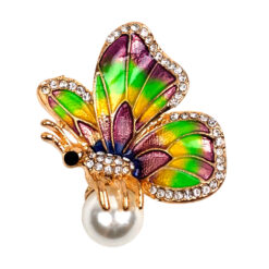 Image of rainbow butterfly brooch with pearl and crystals