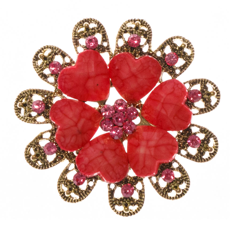 Cora Hot Pink Stone Brooch