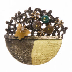 Flower Basket Stone Brooch