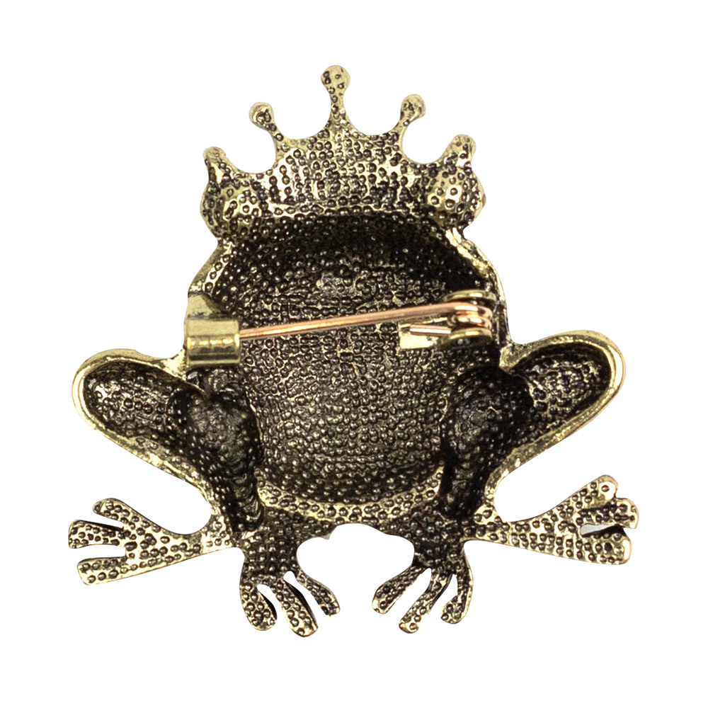 Gold Queen Frog Brooch