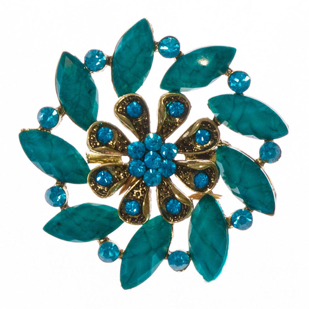 Harlow Green Stone Brooch