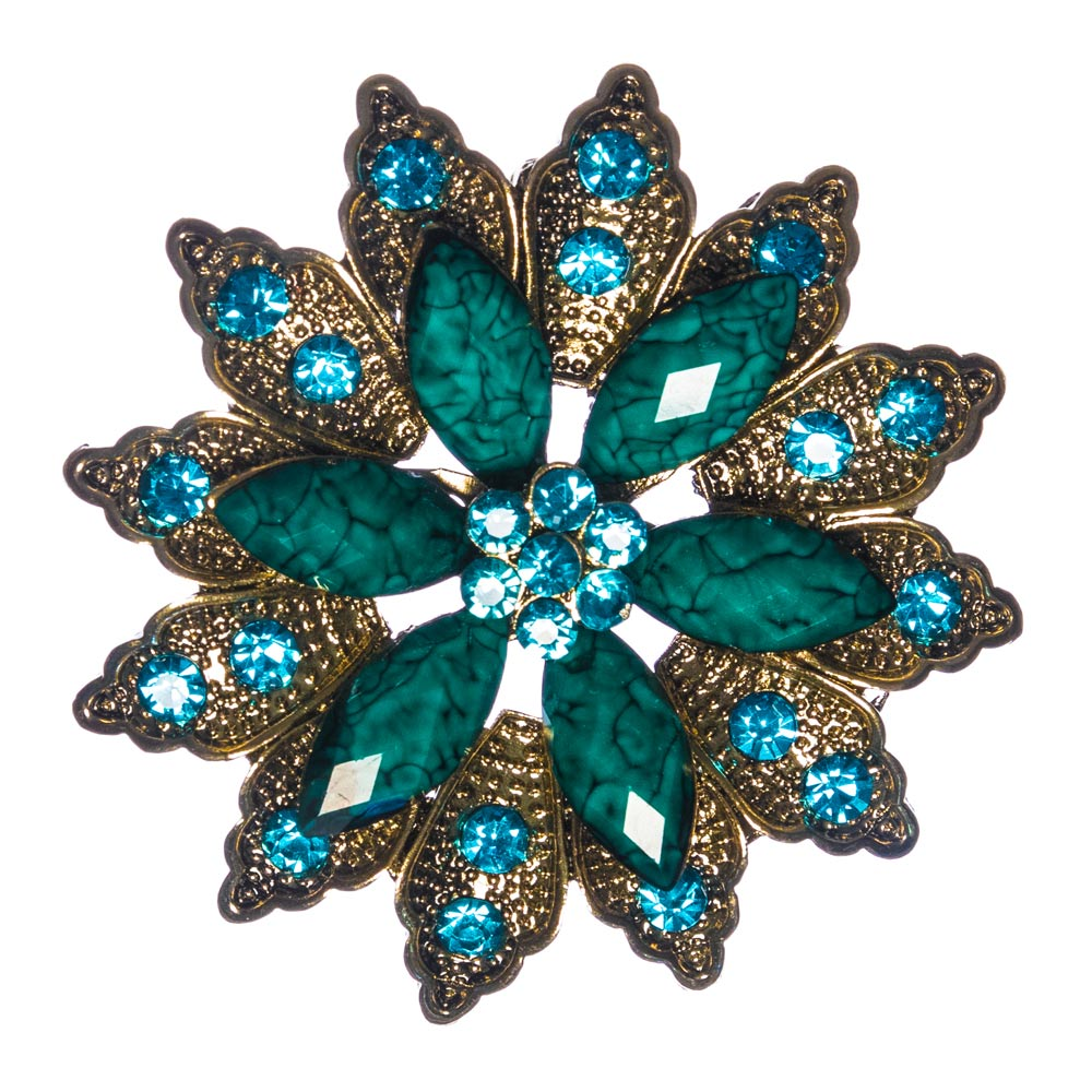 Harper Teal Flower Brooch