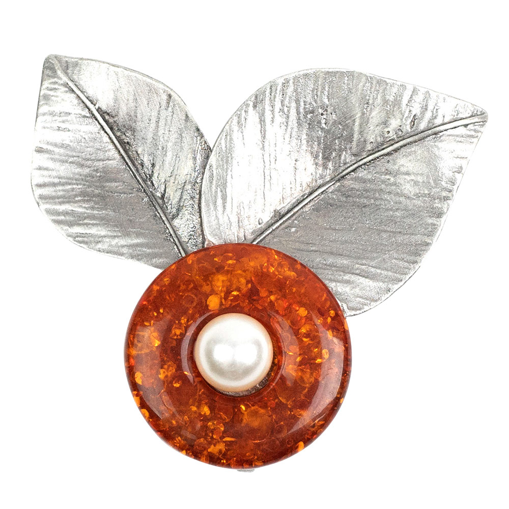 Fiorenza Vintage Orange Brooch
