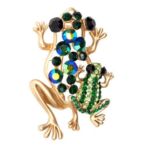 Mother Frog and Child Brooch