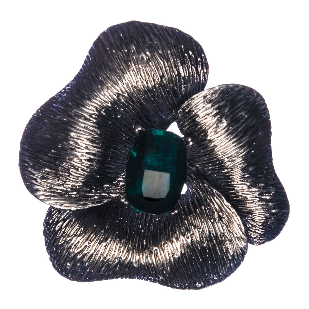 Portia Emerald Flower Brooch