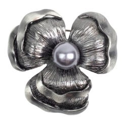 Dixie Black Pearl Flower Brooch