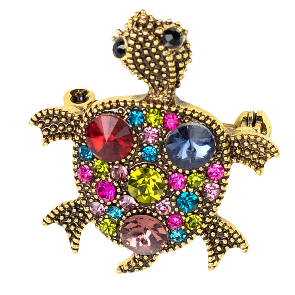 Rosie Turtle Crystal Brooch