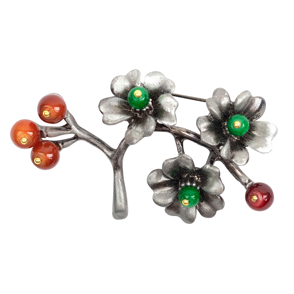 Ysabel Flowers and Stones Brooch